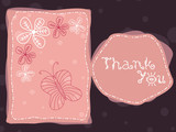 abstract background with flowers butterfly and thankyou text
