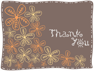 brown background with flowers and thankyou text