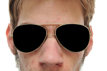 Close up of man with aviator sunglasses