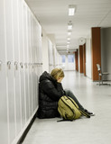 Young woman getting bullied at school poster
