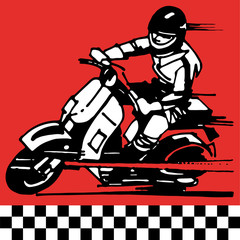moto scooter motocycle retro vintage classic vector illustration