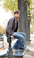 Young man on a bench