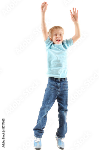 jumping cheerful boy