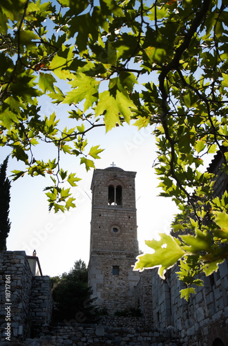 belltower and leaves