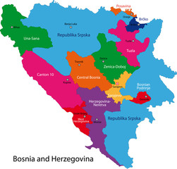 Map of administrative divisions of Bosnia and Herzegovina