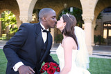Man and Woman Interracial Wedding Couple Kiss poster