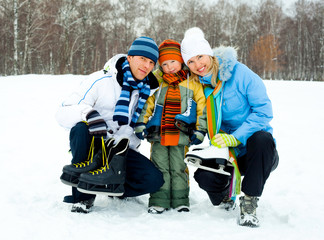 family going ice skating