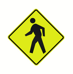 road sign - crosswalk black on fluorescent, isolated