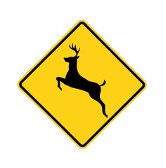 road sign - deer crossing, black on yellow, isolated