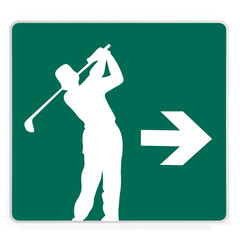 road sign - golfer, white on green, isolated