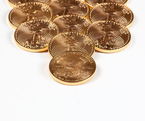 Receding stack of gold coins
