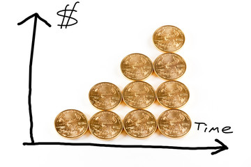 Gold coins forming a graph