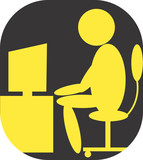 Illustration of a symbol of man and computer