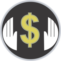 Illustration of a symbol of dollar in a hand