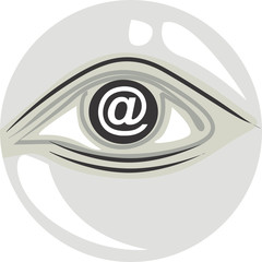Illustration of a symbol of internet in the eye