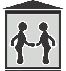 Illustration of symbol of two men meeting