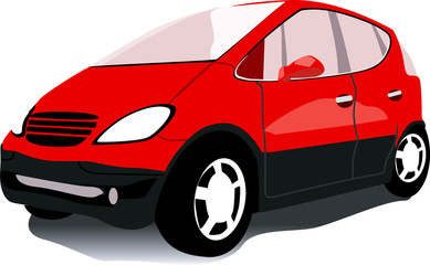 Illustration of a red car isolated