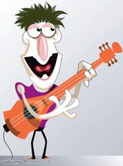A guitarist playing his guitar vigorously