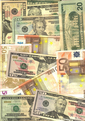 bunch of money, euro and dollars