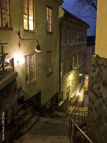Alley with stairs at night