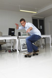Skateboarding in the office