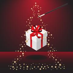 Magic wand with christmas present