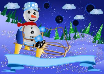 Snowman Sledging