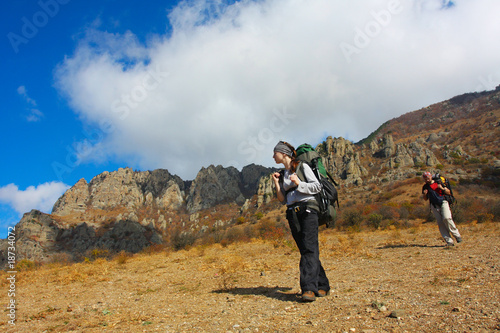 Hiker in Crimea mountains
