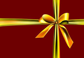 Goldener Schleifenband auf rotem Hintergrund