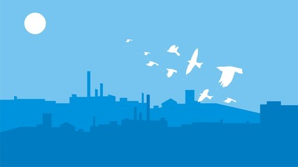 blue silhouette of city with flying white birds