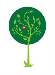 vector illustration of green tree with apple and heart inside it
