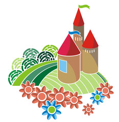 cartoon castle. vector illustration