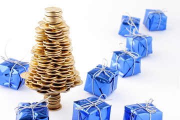 Christmas tree made of gold coins