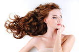 beautiful nice woman with long ringlets hair