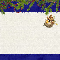 Card for congratulation with spruce branches on the dark  blue b