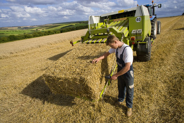 Farmer examining straw bale on baler with moisture reading equipment in rural field
