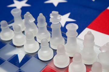 Schachfiguren aus Glas, Flagge der USA