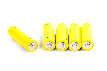 five yellow alkaline batteries