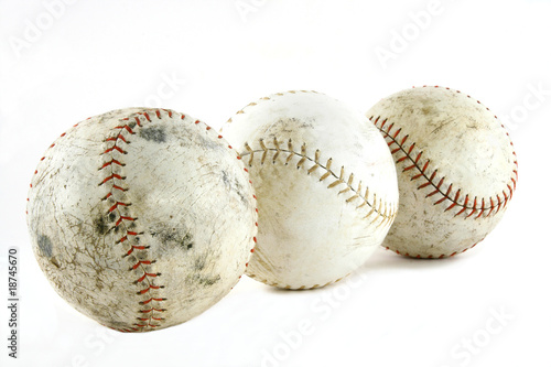 3 softballs angle view