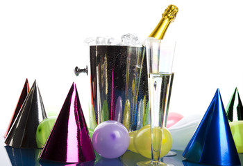 Party with balloons and champagne