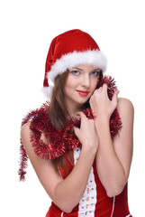 Closeup portrait of emotional girl in santa clause dress