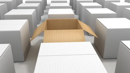 Big cardboard box opening