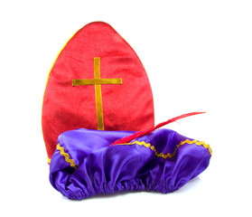 Mitre of Sinterklaas and hat of black pete over white background