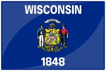 drapeau glassy wisconsin flag