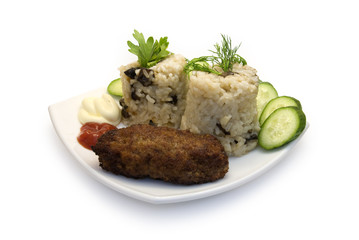 Risotto and cutlet