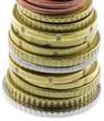 pile pièces euros fond blanc