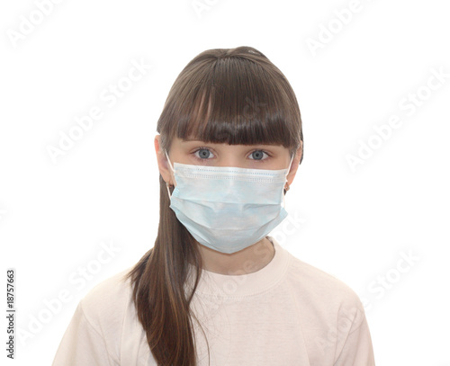 The child in a medical mask.