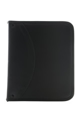 Black leather organizer on white with clipping path
