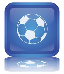 """Soccer - Football"" Button (square - blue - vector - reflection)"