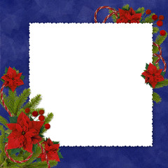 White frame with branches and flowers on the dark  blue backgrou